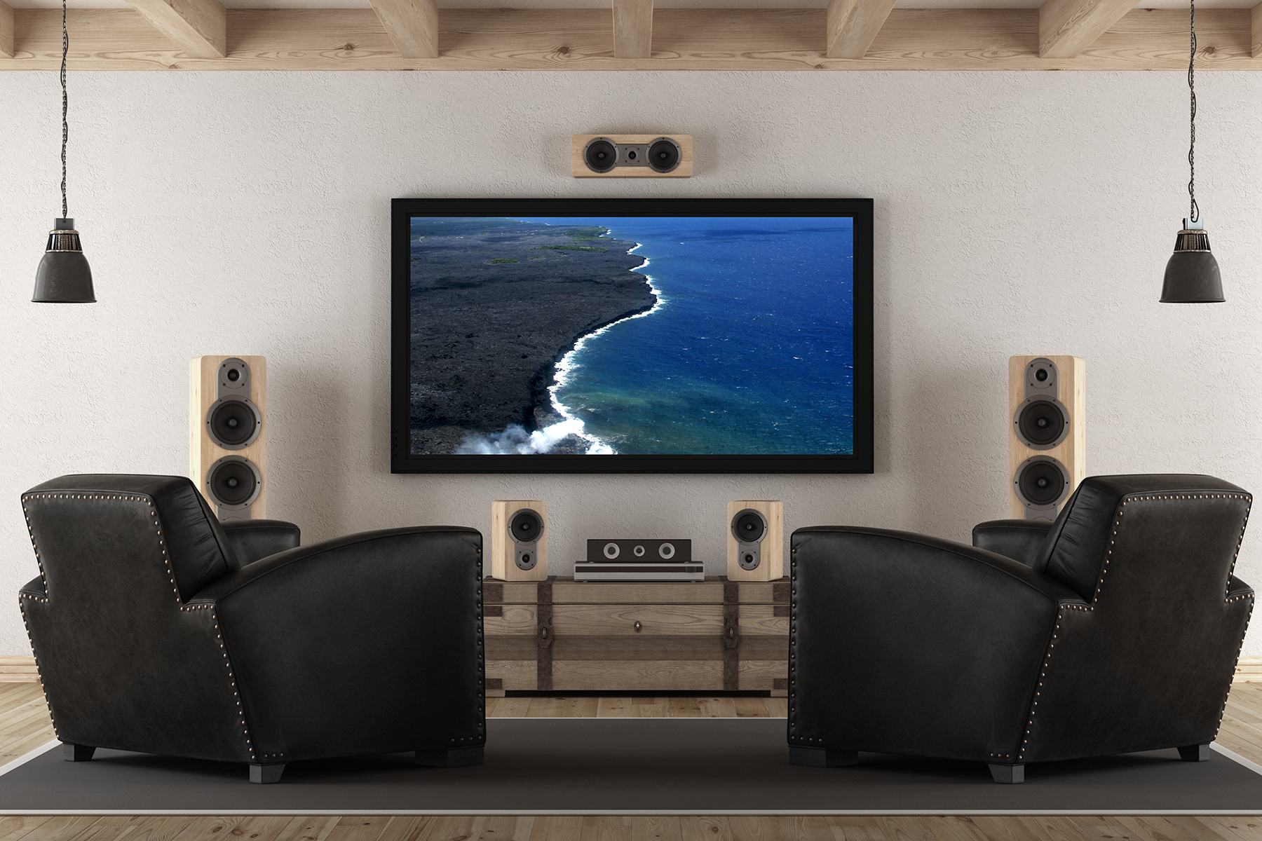 Living room with surround sound and a TV